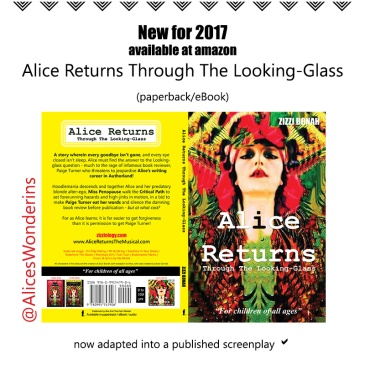 poster advertising Zizzi Bonah's novel, Alice Returns Through The Looking-Glass