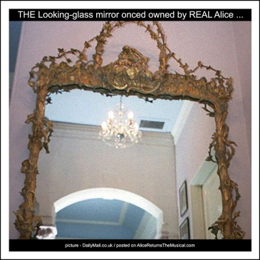 picture of grand mirror at Charlton Kings House where real Alice lived and is said to have inspired 1871 Through The Looking-Glass story