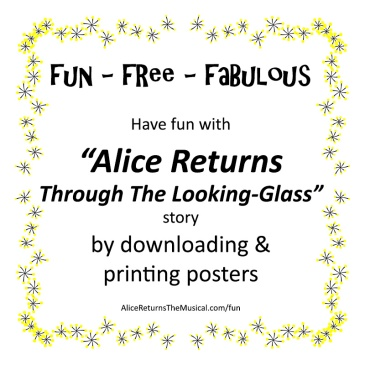 poster advertising free downloads on Alice Returns The Musical Dot Com