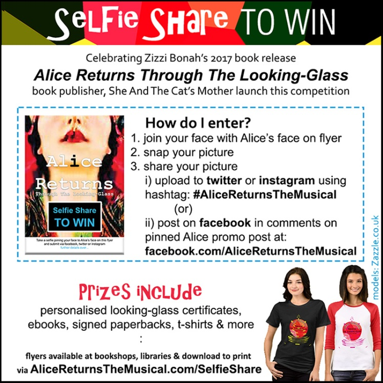 Details of our Selfie Share to win Alice Returns Through The Looking-Glass prizes