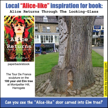 picture of sculpture into elm tree at Montpellier Hill Harrogate that inspired book, Alice Returns Through The Looking-Glass
